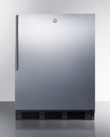 ADA Compliant All-refrigerator for Freestanding General Purpose Use, Auto Defrost W/ss Door, Thin Handle, Lock, and Black Cabinet