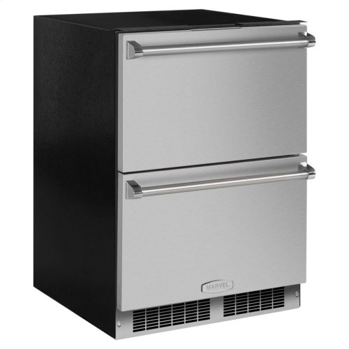 "Marvel Professional 24"" Refrigerated Drawers - Solid Panel Overlay Ready Drawer Fronts, With Lock Sold without handles"