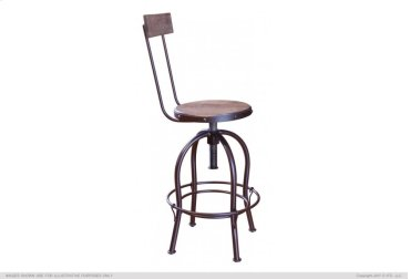 "24-30"" Adjustable Height barstool, wooden seat and back-rest"
