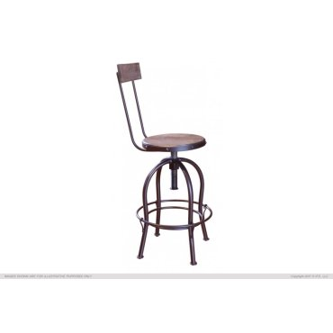 """24-30"""" Adjustable Height barstool, wooden seat and back-rest"""