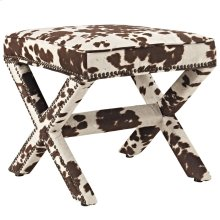 Rivet Upholstered Fabric Bench in Cowhide