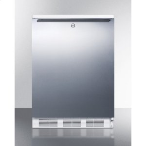 SummitCommercially Listed Freestanding All-refrigerator for General Purpose Use, Auto Defrost W/lock, Ss Wrapped Door, Horizontal Handle, and White Cabinet