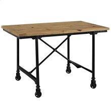Raise Pine Wood and Steel Office Desk in Brown