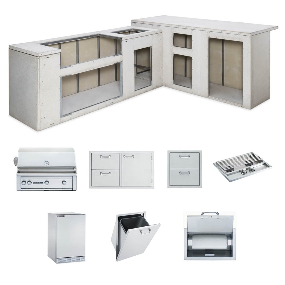 """RTF Island Package includes: L600 Grill, 36"""" Access Doors, Double Side Burner, Refrigerator, Paper Towel Dispenser, Trash Center, Double Drawers  STAINLESS STEEL"""