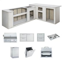"""RTF Island Package includes: L600 Grill, 36"""" Access Doors, Double Side Burner, Refrigerator, Paper Towel Dispenser, Trash Center, Double Drawers"""