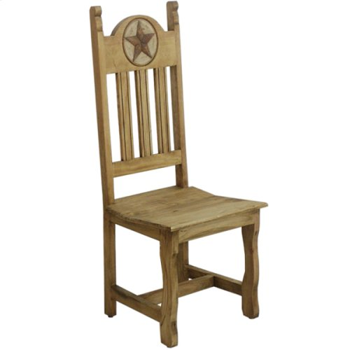 Dining chair with wood seat and stone star