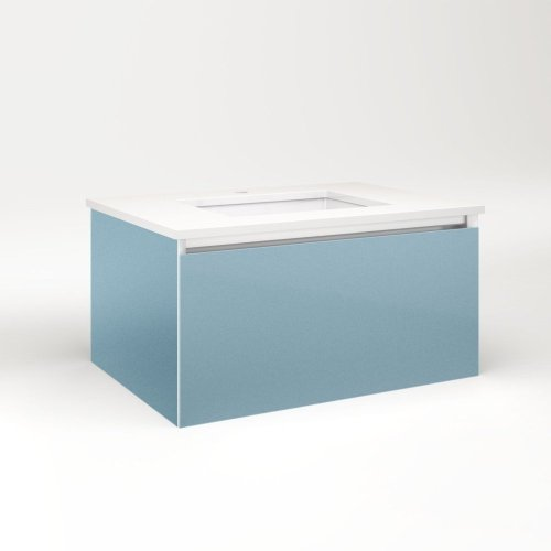 "Cartesian 30-1/8"" X 15"" X 21-3/4"" Slim Drawer Vanity In Ocean With Slow-close Plumbing Drawer and Selectable Night Light In 2700k/4000k Temperature (warm/cool Light)"