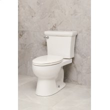 White HUNTINGTON Two-Piece Toilet 1.28gpf, Compact Elongated with White Enamel Metal Finish