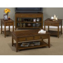 Castered Cocktail Table W/2 Pull-thru Drawers, Shelf and Round Antique Bronze Floret Hardware