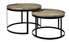 Bengal Manor Mango Wood and Metal Round Cocktail Tables