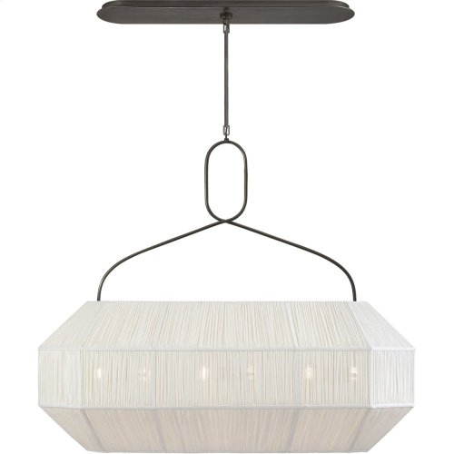 Visual Comfort KW5317BZ-L Kelly Wearstler Forza 6 Light 40 inch Bronze Linear Lantern Ceiling Light, Medium Gathered