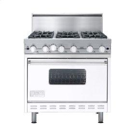 """White 36"""" Open Burner Commercial Depth Range - VGRC (36"""" wide, six burners)"""