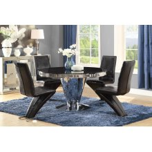Barzini Contemporary Black and Chrome Five-piece Dining Set