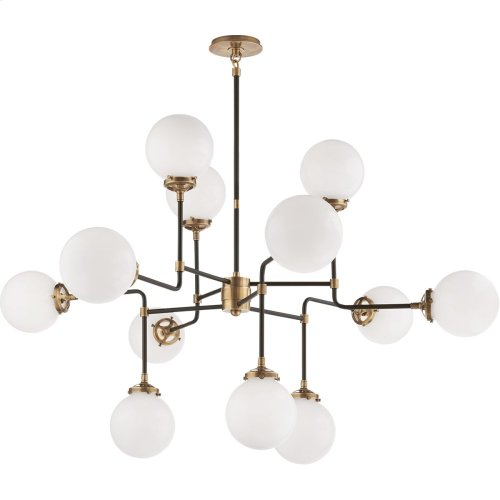 Visual Comfort S5022HAB-WG Ian K. Fowler Bistro 12 Light 47 inch Hand-Rubbed Antique Brass Chandelier Ceiling Light in White Glass