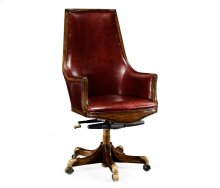 High Backed Walnut Office Chair, Upholstered in Rich Red Leather