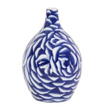 Blue and White Abstract Rose Ceramic Vase