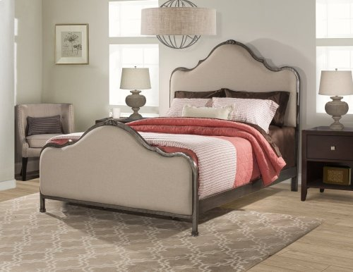 2140 Delray King Bed HB-FB-RA - Aged Steel With Linen Stone