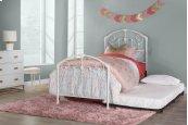 Maddie Twin Bed Set With Link Spring and Roll Out Trundle - Glossy White