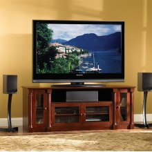PR35 Mahogany Finish Wood A/V Cabinet with Interchangeable Door Panels for most TVs up to 70 inches from Bell'O International Corp.