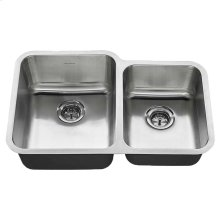 American Standard Undermount 31x20 Offset Double Bowl Sink - Stainless Steel