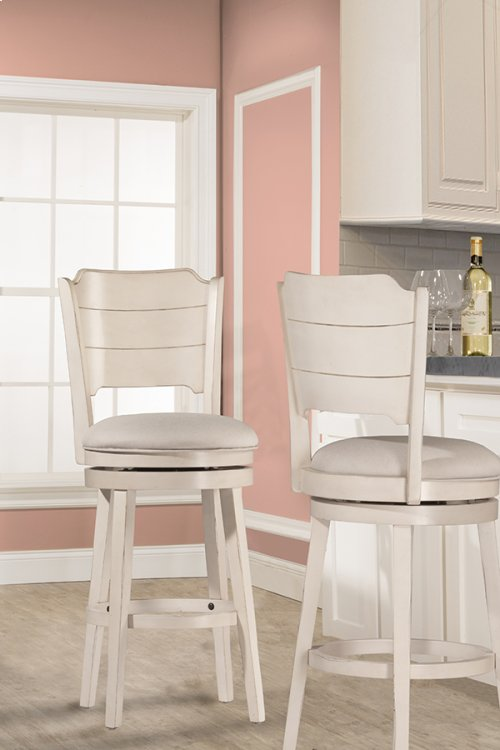 Clarion Swivel Counter Stool - Sea White Wood Finish