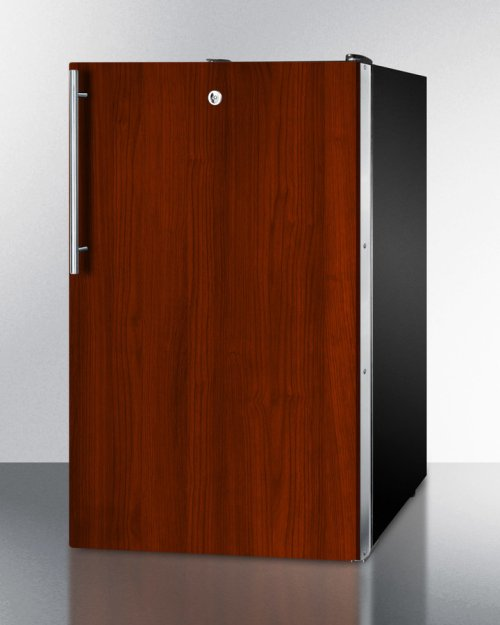 """ADA Compliant 20"""" Wide Built-in Refrigerator-freezer With A Lock, Black Exterior, and Integrated Door Frame for Overlay Panels"""