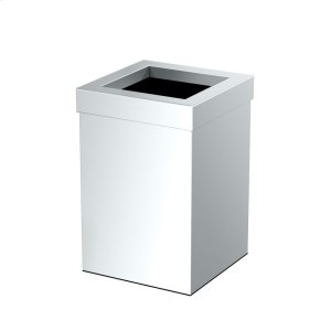 Square Modern Waste Can in Chrome Product Image