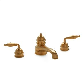 Polished Brass Grey Series I Lever Deck Mount Tub Set
