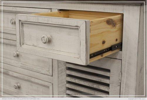 6 Drawe & 2 Doors Console White & Stone Finish