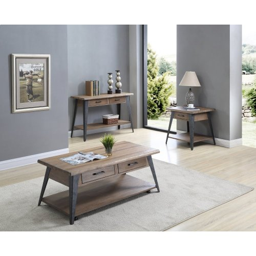 Emerald Home Harper's Mill Rectangular Cocktail Table W/wood Top and Metal Legs Pine T611-00