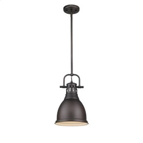 Duncan Small Pendant with Rod in Rubbed Bronze with a Rubbed Bronze