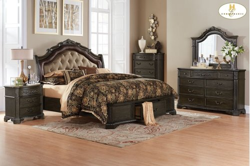 Queen Sleigh Platform Bed with Footboard Storages