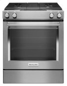 30-Inch 4-Burner Dual Fuel Downdraft Front Control Range - Stainless Steel Product Image