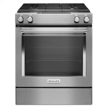 30-Inch 4-Burner Dual Fuel Downdraft Slide-In Range - Stainless Steel