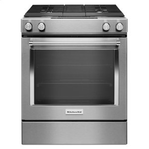 KITCHENAID30-Inch 4-Burner Dual Fuel Downdraft Slide-In Range - Stainless Steel