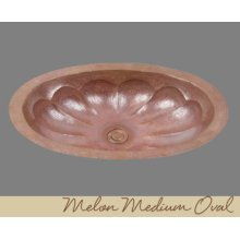 Solid Copper Oval Lavatory - Melon Pattern - Dark