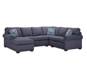 RF Corner Sofa with Cherry Legs and Attached Back