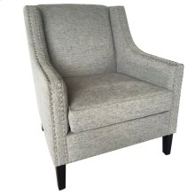 Bentley Upholstered Grey Arm Chair with Nail Head Trim