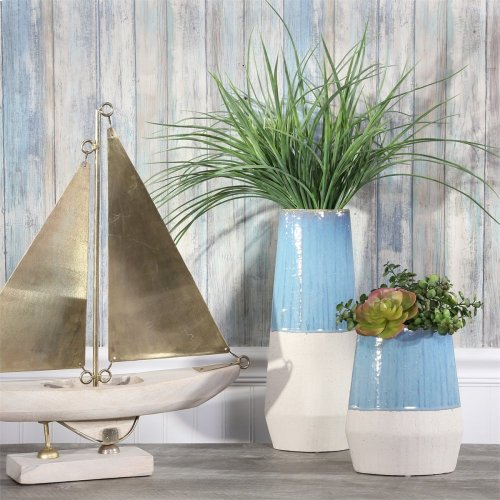 "Ceramic 15.5"" Vase, Blue/ivory"