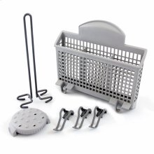 Dishwasher Accessory Kit with Extra Tall Item Sprinkler, Vase/Bottle Holder, 3 Plastic Item Clips and Small Item Basket - Ascenta