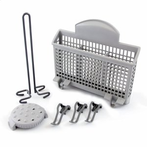 Dishwasher Accessory Kit with Extra Tall Item Sprinkler, Vase/Bottle Holder, 3 Plastic Item Clips and Small Item Basket - Ascenta -