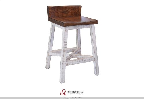 "24"" Stool - with wooden seat & base- White finish"