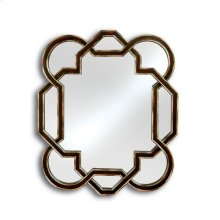 Contemporary Mirror with Geometric Shape, Aubergine Finish with Silver Accents