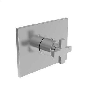 "Matte White 3/4"" Rectangular Thermostatic Trim Plate with Handle"