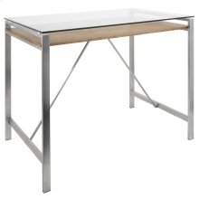 Hover Counter Table - Brushed Stainless Steel, Walnut Wood, Clear Glass