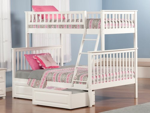 Woodland Bunk Bed Twin over Full with Raised Panel Bed Drawers in White