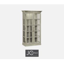 Plank Rustic Grey Fully Glazed Bookcase with Strap Handles
