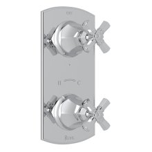 """Polished Chrome Palladian 1/2"""" Thermostatic/Diverter Control Trim with Cross Handle"""