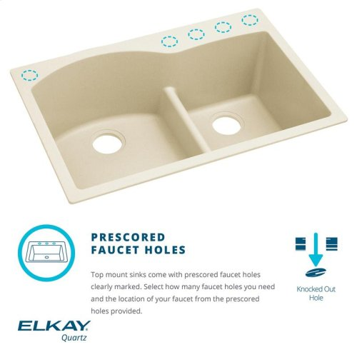 "Elkay Quartz Luxe 33"" x 22"" x 10"", Offset 60/40 Double Bowl Drop-in Sink with Aqua Divide"