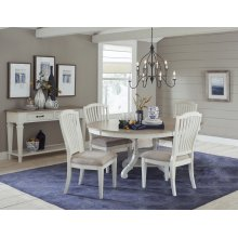 Rockport 5-piece Round Dining Set With Side Chairs - White With Driftwood Top
